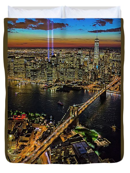 911 Tribute In Lights At Nyc Duvet Cover by Susan Candelario
