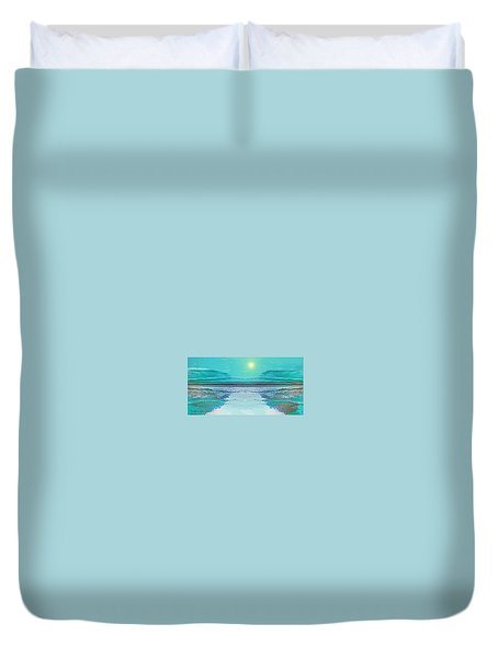 - 938 - Abstract Seascape - 2017  Duvet Cover by Irmgard Schoendorf Welch