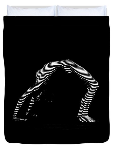 9454-dja Back Bend Yoga Zebra Girl Striped Curves Black White Photograph By Chris Maher Duvet Cover
