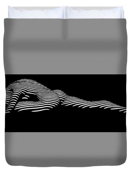 9474 Zebra Stripe Yoga Pigeon Pose Feline Grace Duvet Cover