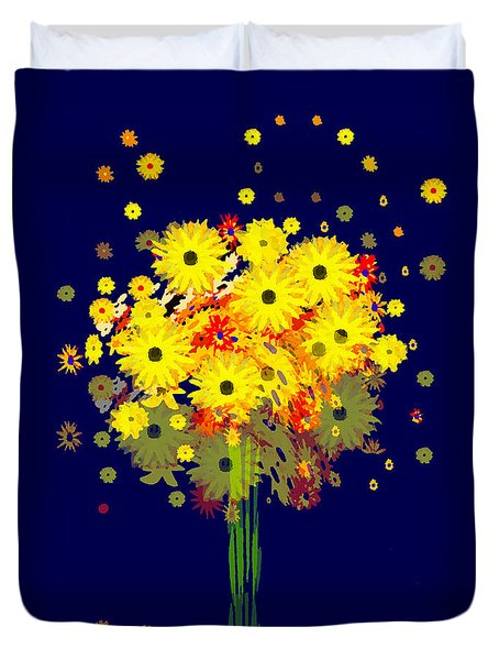 952 - Summer Flowers  Yellow ... Duvet Cover by Irmgard Schoendorf Welch