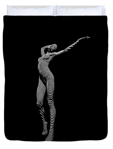 9705-dja Zebra Woman Flow Of Life Black White Striped Young Woman By Chris Maher Duvet Cover