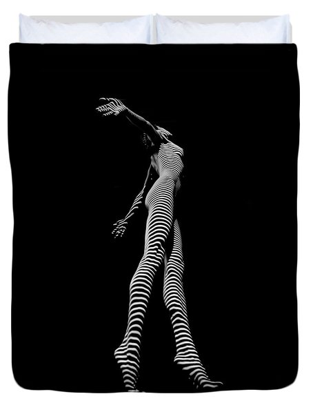 9825-dja Black And White Zebra Striped Woman Unique Perspective Fine Art Photograph By Chris Maher Duvet Cover