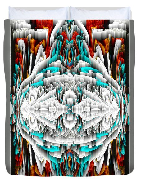 Duvet Cover featuring the digital art 992.042212mirror2ornateredablue-1 by Kris Haas