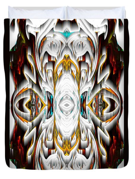 Duvet Cover featuring the digital art 992.042212mirror2ornateredagold-1a-1 by Kris Haas