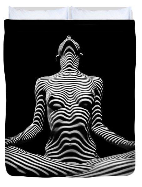 9934-dja Lotus Position In Zebra Stripes  Duvet Cover