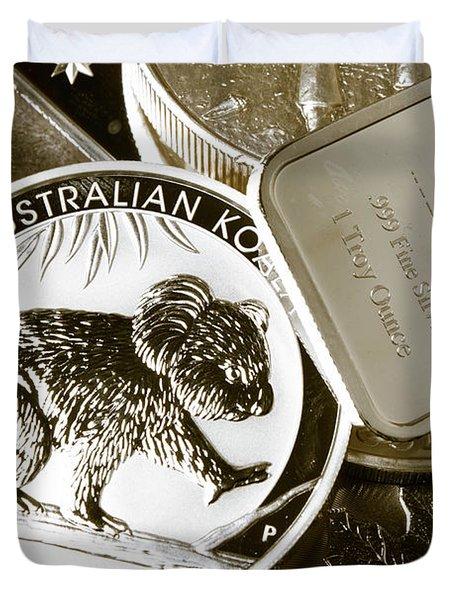 999 Silver Mint Duvet Cover
