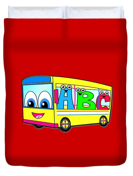 A B C Bus T-shirt Duvet Cover by Herb Strobino