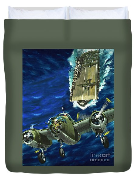 A B52 Bomber Takes Off From An Aircraft Carrier Headed For Japan In World War II Duvet Cover by Wilf Hardy