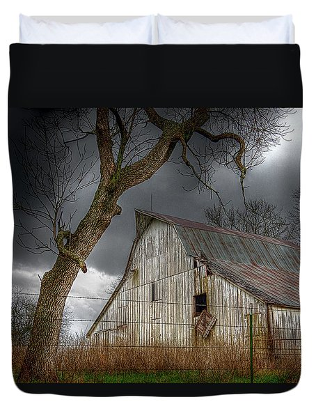 A Barn In The Storm 2 Duvet Cover by Karen McKenzie McAdoo