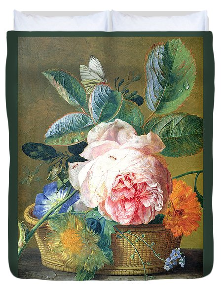 A Basket With Flowers Duvet Cover by Jan van Huysum