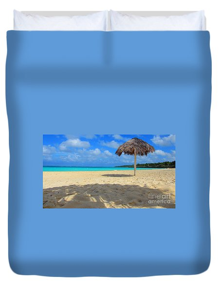 Duvet Cover featuring the painting A Beach In Cuba by Rod Jellison