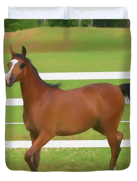 A Beautiful Arabian Filly In The Pasture. Duvet Cover