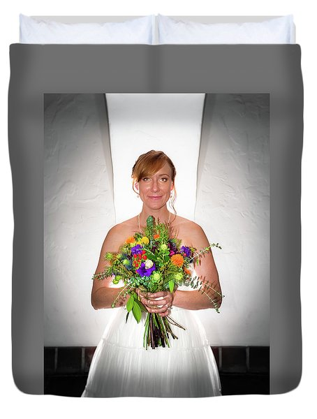 A Beautiful Backlit Bride And Her Bouquet Duvet Cover