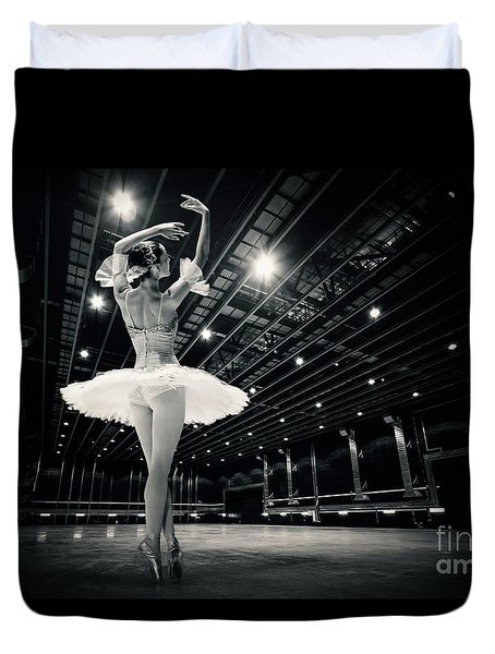Duvet Cover featuring the photograph A Beautiful Ballerina Dancing In Studio by Dimitar Hristov