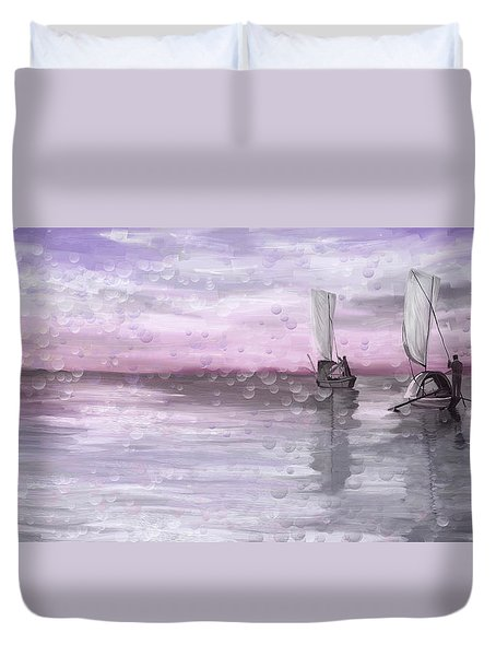 A Beautiful Morning For Fishing Duvet Cover by Angela A Stanton