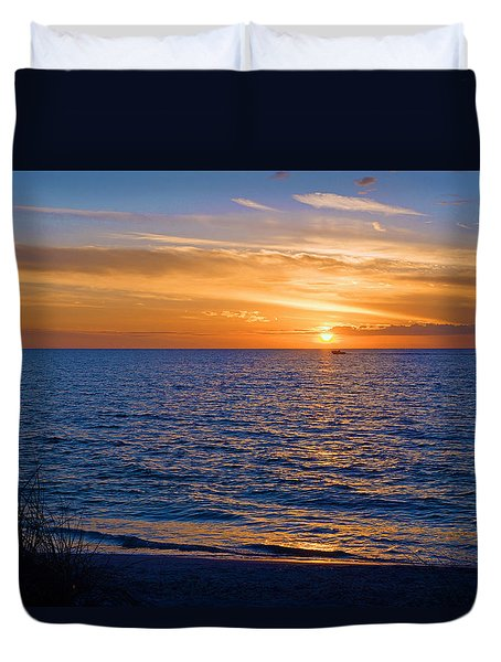 A Beautiful Sunset In Naples, Fl Duvet Cover