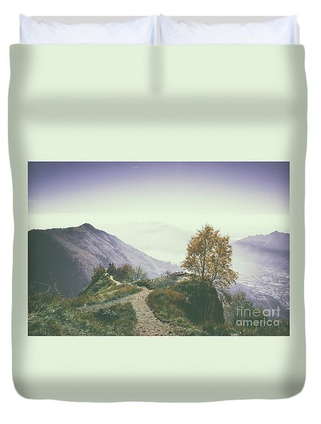 A Beautiful View Of Lecco And Lake Of Como From Piani D'erna And Duvet Cover