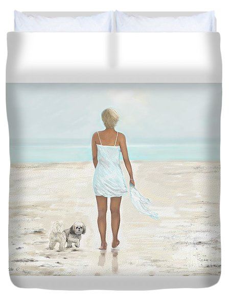 Duvet Cover featuring the painting A Beautiful Walk by Leslie Allen