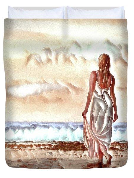 Duvet Cover featuring the digital art A Beautiful World by Pennie McCracken