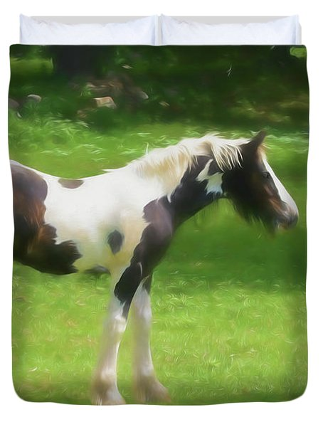 A Beautiful Young Gypsy Vanner Standing In The Pasture Duvet Cover