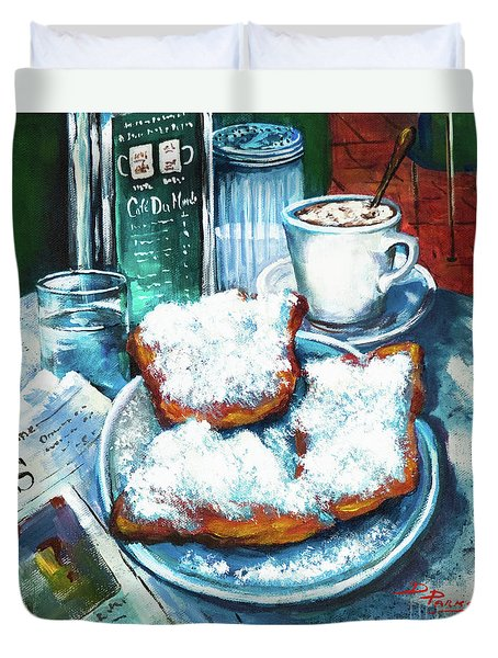 A Beignet Morning Duvet Cover