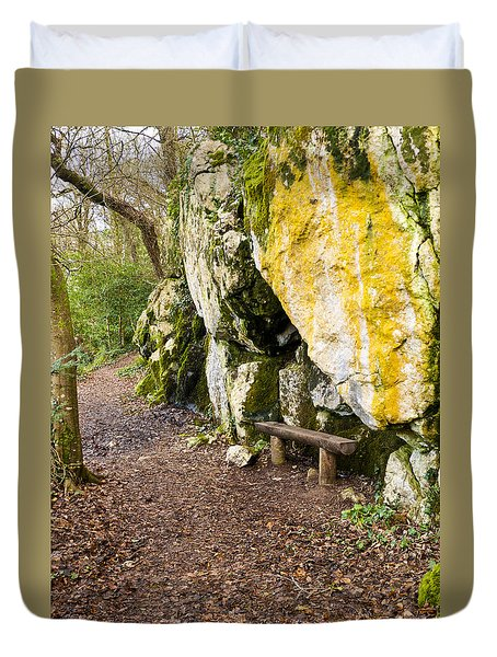 A Bench In The Woods Duvet Cover by Rae Tucker