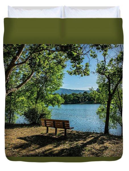 A Bench Overlooking Vasona Lake Duvet Cover