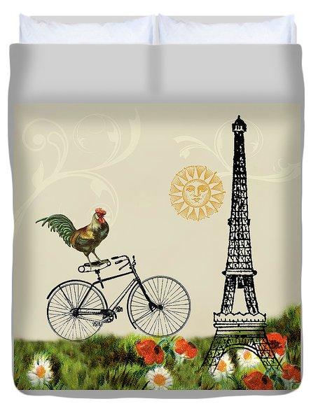 A Bicycle Tour Of Paris Duvet Cover