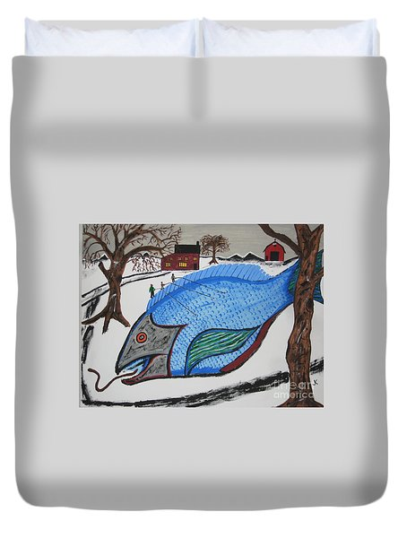 Duvet Cover featuring the painting A Big Fish Tale by Jeffrey Koss
