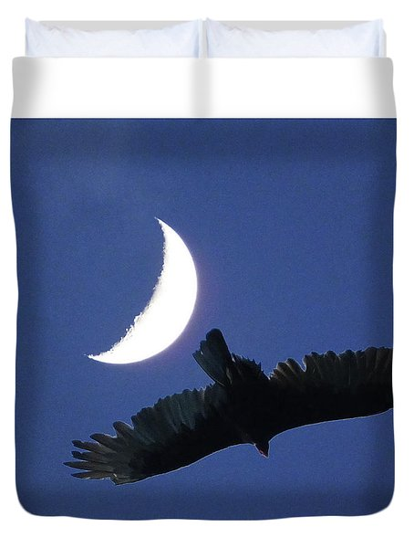 A Bird And The New Moon Duvet Cover