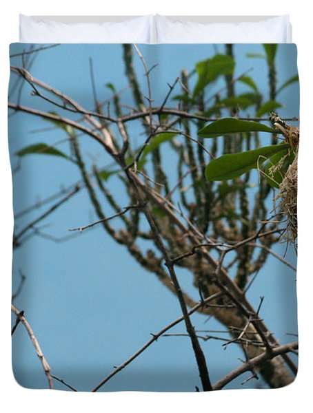 Duvet Cover featuring the photograph A Bird In 3d by Paul SEQUENCE Ferguson             sequence dot net
