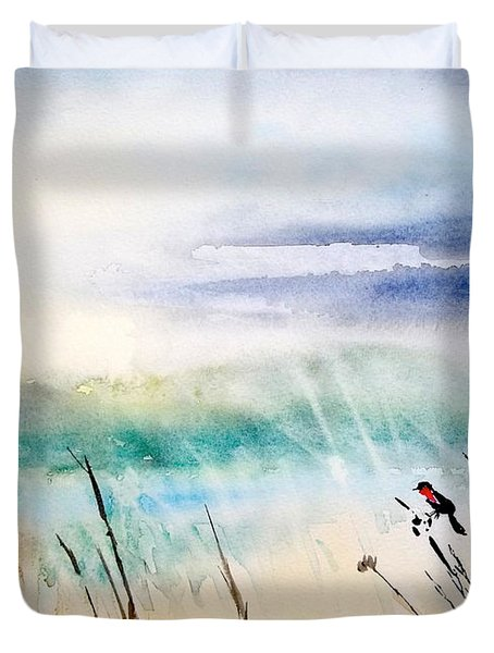 A Bird In Swamp Duvet Cover by Yoshiko Mishina
