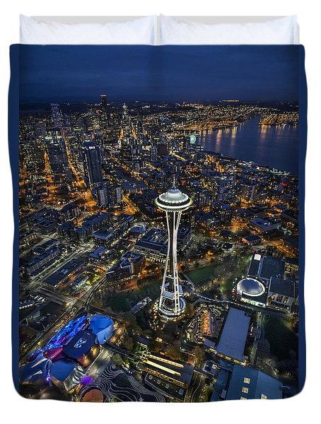 A Birds-eye View Of Seattle Duvet Cover