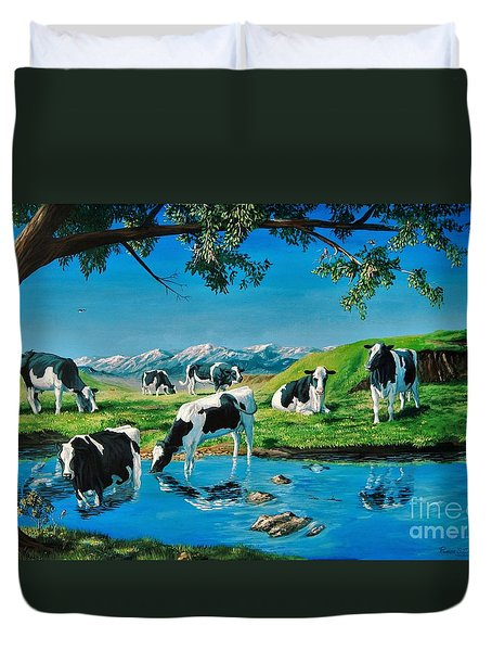 A Black And White Field Duvet Cover by Ruanna Sion Shadd a'Dann'l Yoder