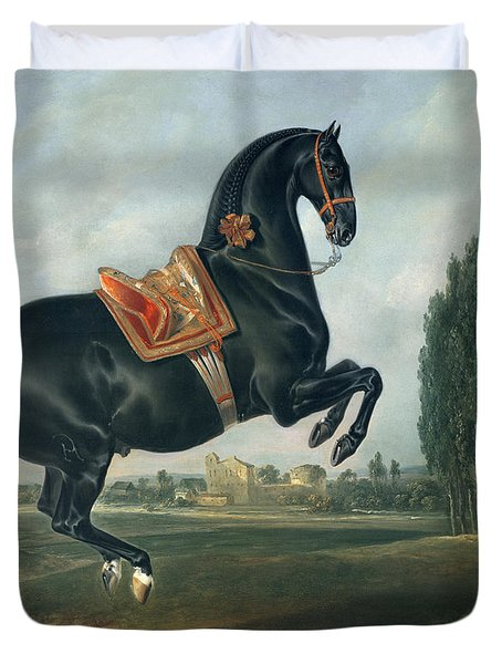 A Black Horse Performing The Courbette Duvet Cover