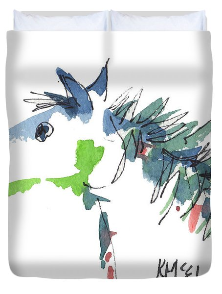 A Blue Roan Horse Watercolor Painting By Kmcelwaine Duvet Cover