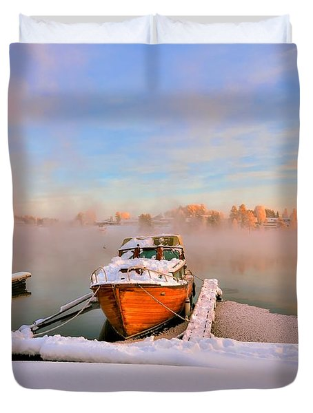 Boat On Frozen Lake Duvet Cover by Rose-Maries Pictures