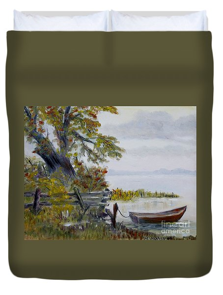 A Boat Waiting Duvet Cover
