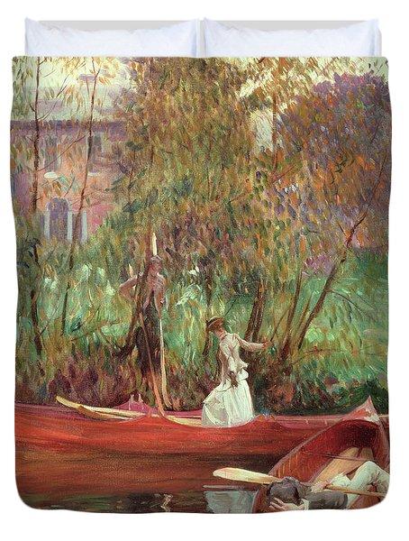 A Boating Party  Duvet Cover by John Singer Sargent