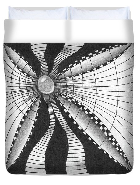Duvet Cover featuring the drawing A Bow Of Boze by Jan Steinle