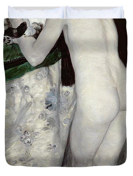 A Boy With A Cat Duvet Cover by Pierre Auguste Renoir