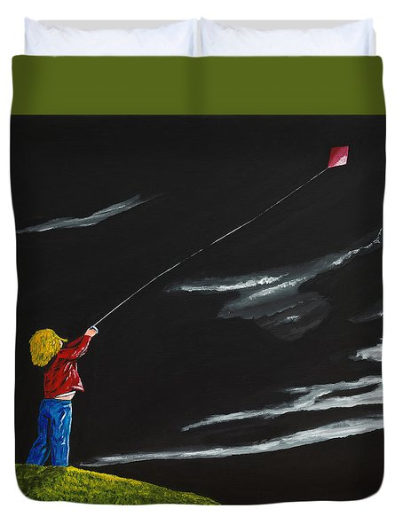 Duvet Cover featuring the painting A Braw Night For Flight by Scott Wilmot