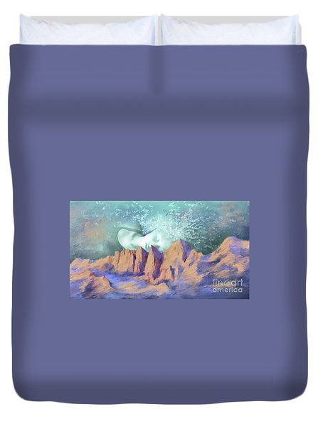 Duvet Cover featuring the painting A Breath Of Tranquility by S G
