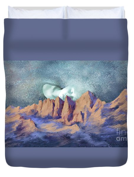 Duvet Cover featuring the painting A Breath Of Tranquility by Sgn