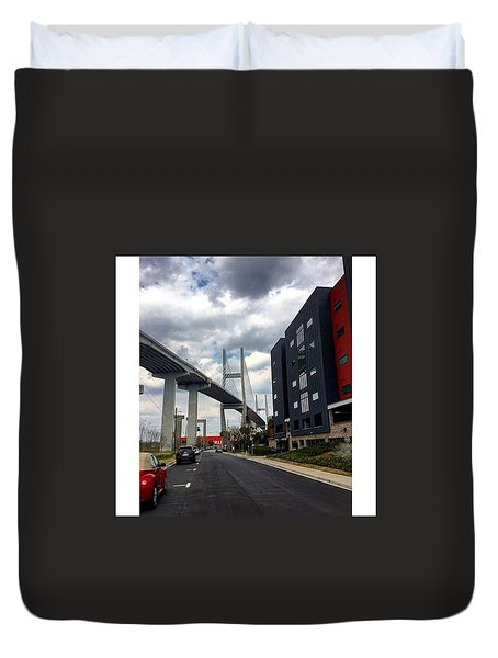 A Bridge And A Cloudy Sky Duvet Cover