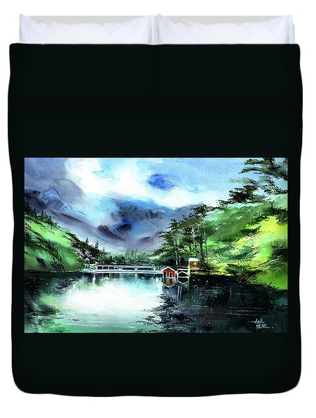 Duvet Cover featuring the painting A Bridge Not Too Far by Anil Nene