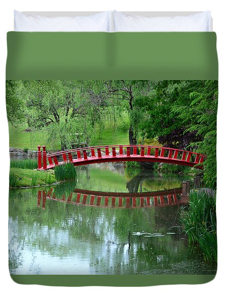 Duvet Cover featuring the photograph A Bridge Reflection by Kathleen Stephens