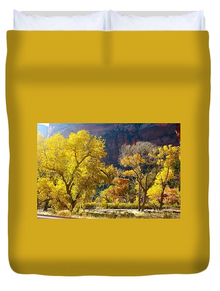 A Bright Gathering Of Trees Duvet Cover