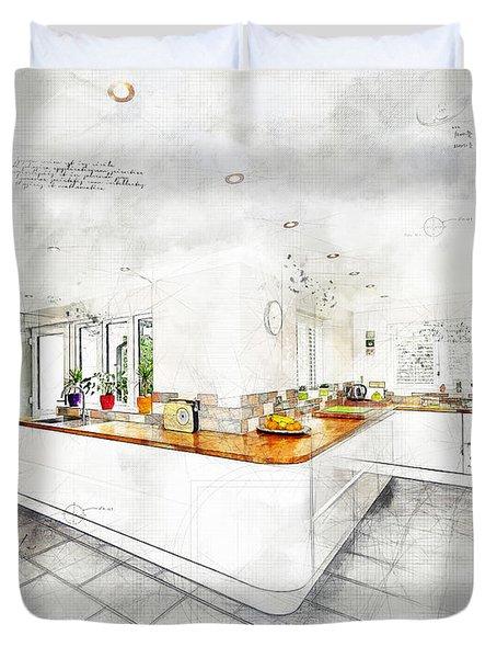 A Bright White Kitchen Duvet Cover